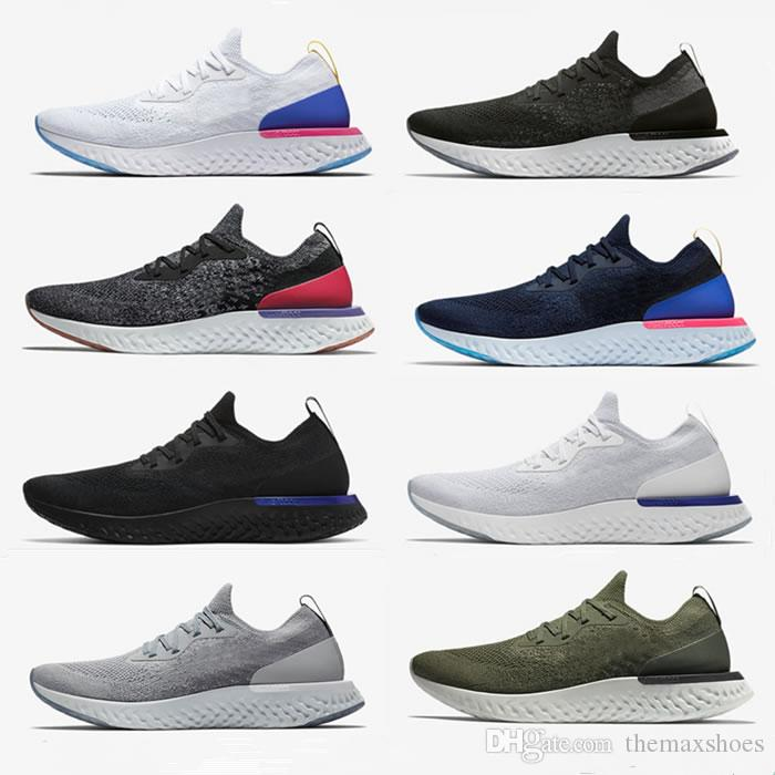 09a9f0e23afe 2018 All White Epic React Foam Running Shoes Fly Knitting Sport Mens ...