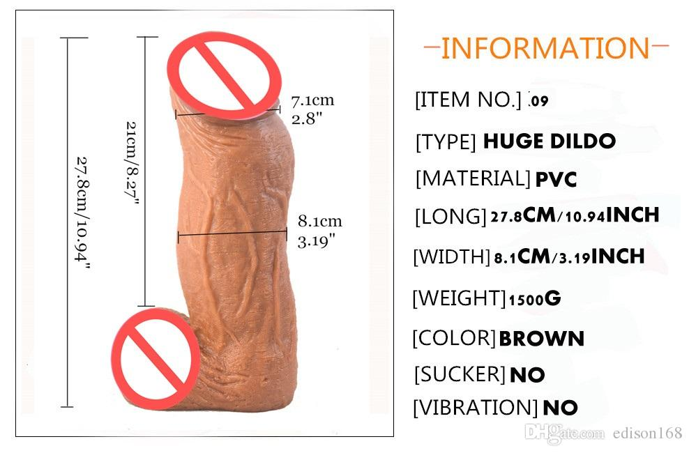 2018 Thick 8 CM Huge Realistic Dildo Giant Artificial Penis Dick Vagina Plug G Spot Stimulate Female Masturbation Sex Toy For Women