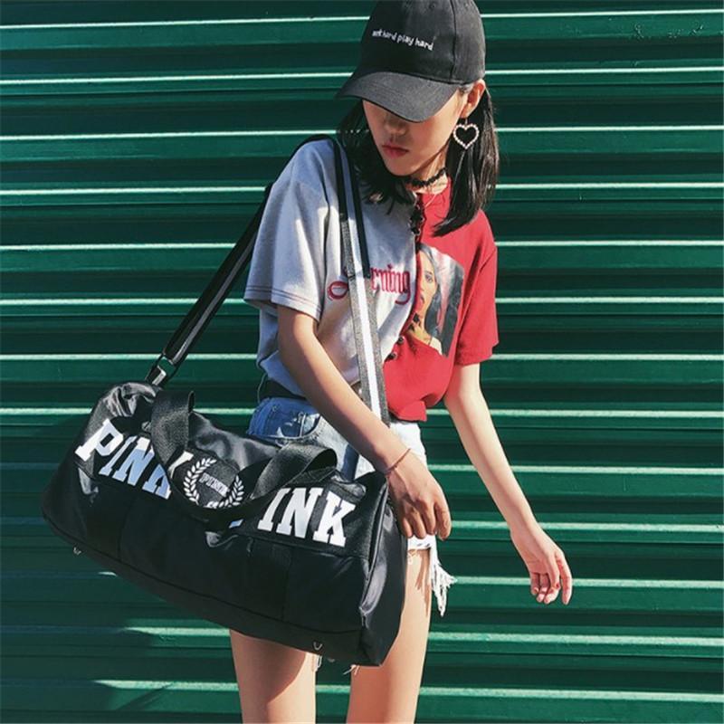 Large Capacity Tote Bag Pink Stripe Duffle Bag Fit Beach Shoulder ... d52639cd1f0aa