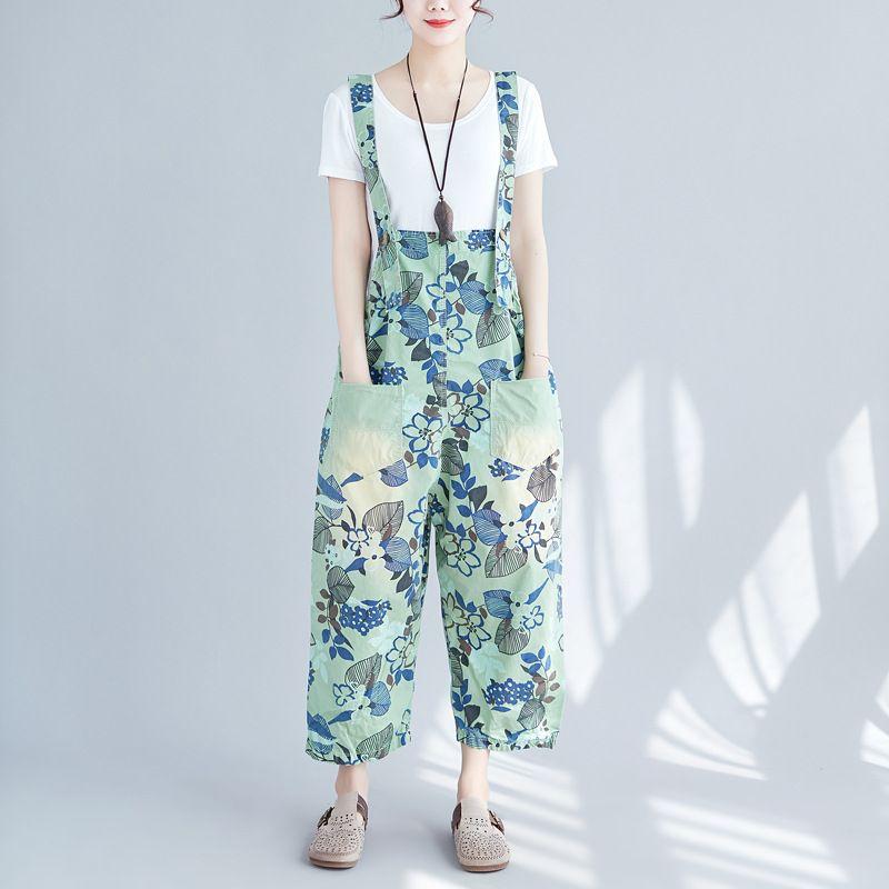 e901c20f7de 2019 Plus Size Denim Jumpsuits Girl Leisure Print Bib Overalls Pants Calf  Length Wide Leg Suspenders Jeans Trousers From Flyinghigher2018