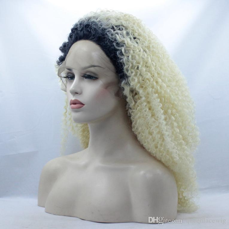 Ombre #1b/#613 Light Blond Curly Wig Synthetic Hair Glueless Lace Front Wig Ombre Blonde Kinky Curly Wigs for African Americans