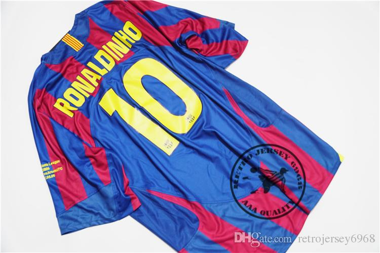 Free shipping 2006 final ronaldinho xavi puyol messi deco giuly larsson eto home soccer jersey