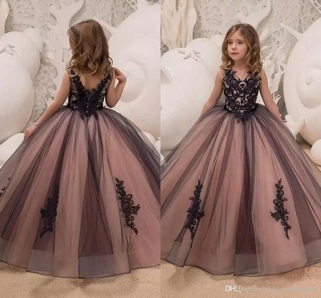 bd32734f1 Pink Black Princess Flower Girl Dresses V Neck Lace Appliqued Formal Girls  Pageant Gowns Ball Gown Tulle Kids Formal Wear For Birthday Party Pretty  Flower ...