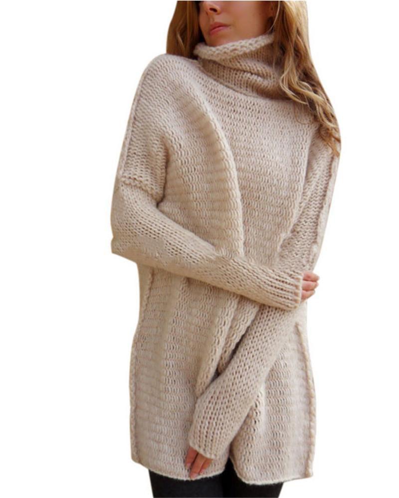 Großhandel Frauen Strickpullover Sexy Winter Herbst Pullover Fledermaus  Ärmel Rollkragen Lose Strick Warme Kleidung Lange Tops Mantel Von  Tangcaixia, ... 17d52f1c81