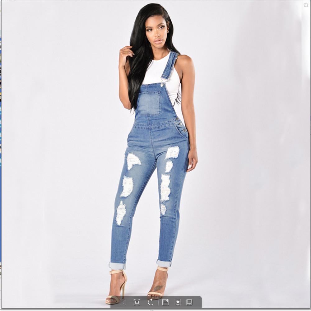 3551071bd8f Compre 2018 Nuevo Estilo Moda Para Mujer Casual Ahueca Hacia Fuera  Mamelucos Ripped Denim Overol Jeans Bib Pantalones A  29.33 Del Cardigun