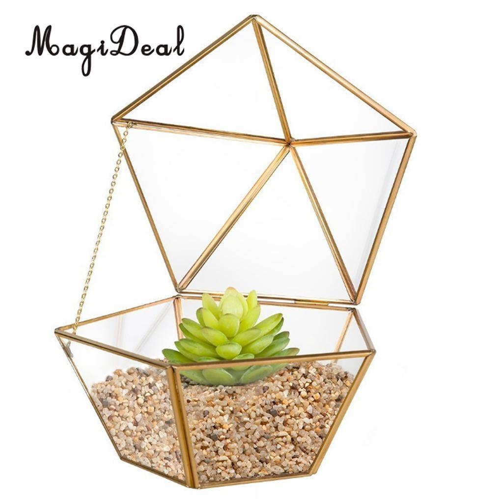 MagiDeal Geometric Terrarium Metal Faceted Succulent Plants Air Planter Anti Gold Indoor Planter Table Vase Wedding Party Favor