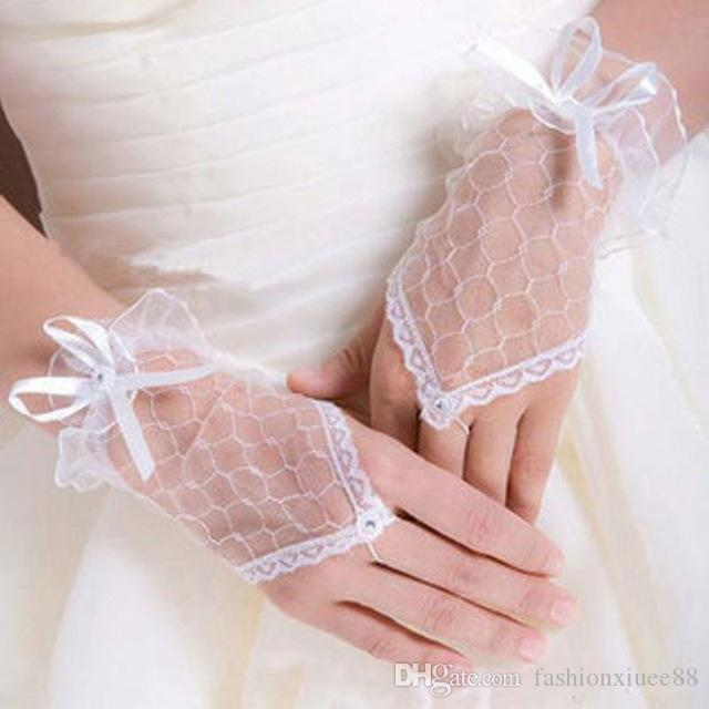 High Quality White Bridal Gloves Wrist Lenght Fingerless Lace Wedding Party Gloves Accessories Bow Bridal Wedding Gloves