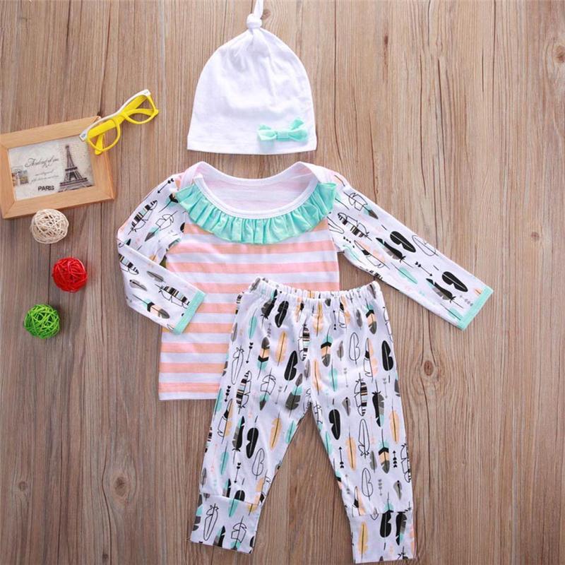 Baby boy girl abbigliamento unicorno a righe in cotone oufits 3-picec set top + pants + cappello in pizzo bowknot neonato bambino bambino comodo vestiti del bambino 3-18 M