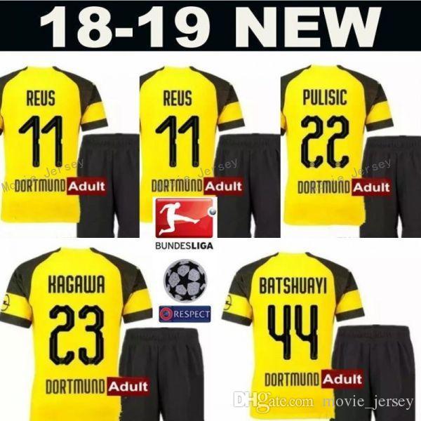 1396abc72 2019 2018 2019 Bundesliga Soccer BVB 10 Mario Gotze Jersey Sets Men FC  Borussia Dortmund 11 Marco Reus 22 Christian Pulisic Football Shirt Kits  From ...
