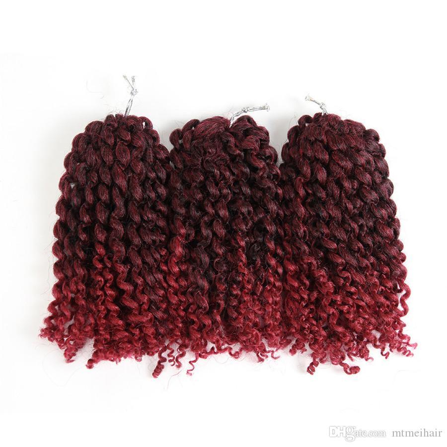 Mtmei Marlybob häkeln Afro verworrenes lockiges Haar synthetische Flechten Haarverlängerung ombre Kunsthaar 8 Zoll kurze federnd