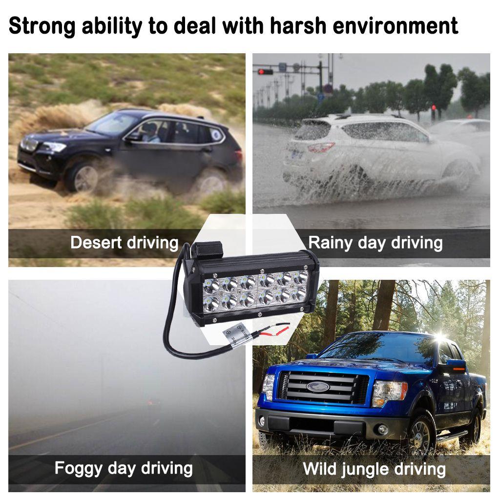 36W Cree Flood Led Belki Light Bars 12V 7 cali Super Bright White 6000K 3000 LMS dla jeepów Pojazdy terenowe ATVS SUVS