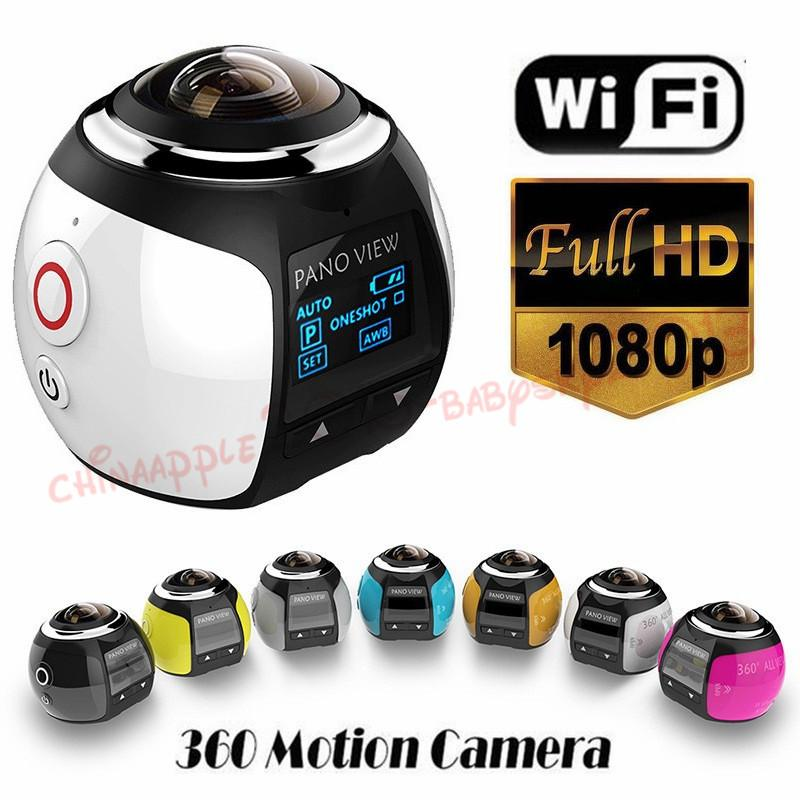 New V1 360 degree panoramic sports camera mini 3D wifi sports DV 4K full HD 30m waterproof outdoor action video cameras With Retail Package
