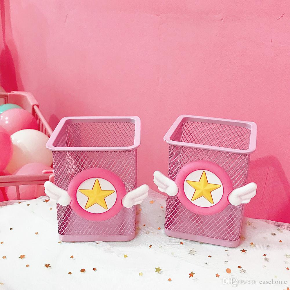 Pen Container School Supplies Wholsale Cute Pink Penholder Steel Material Cheap for School and Office Supplies Free Shipping
