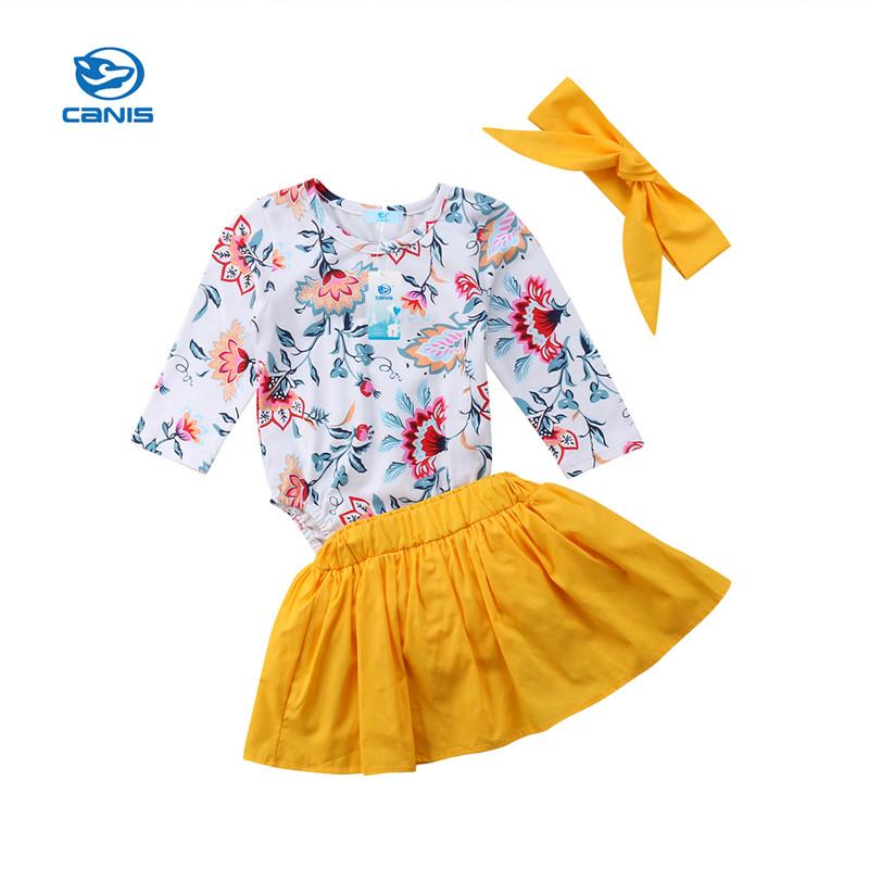 fa78686b3 2019 Toddler Kids Baby Girls Clothes Set Long Sleeve Rompers+Tutu ...