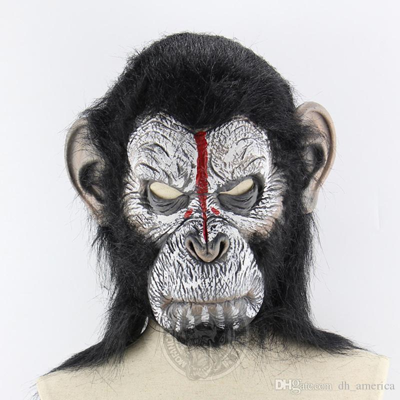 Human Gorilla Headgear Halloween Horror Scary Animal Monkey Mask Ball Rise Latex For Men And Women Masquerade Masks Purple