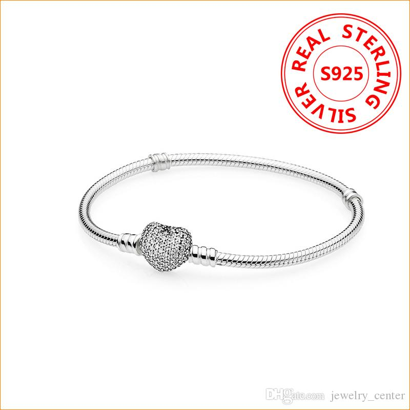 Authentic 925 Sterling Silver Heart Charms Bracelet For Pandora European Beads Bangle Wedding Gift Jewelry for Women with Original box
