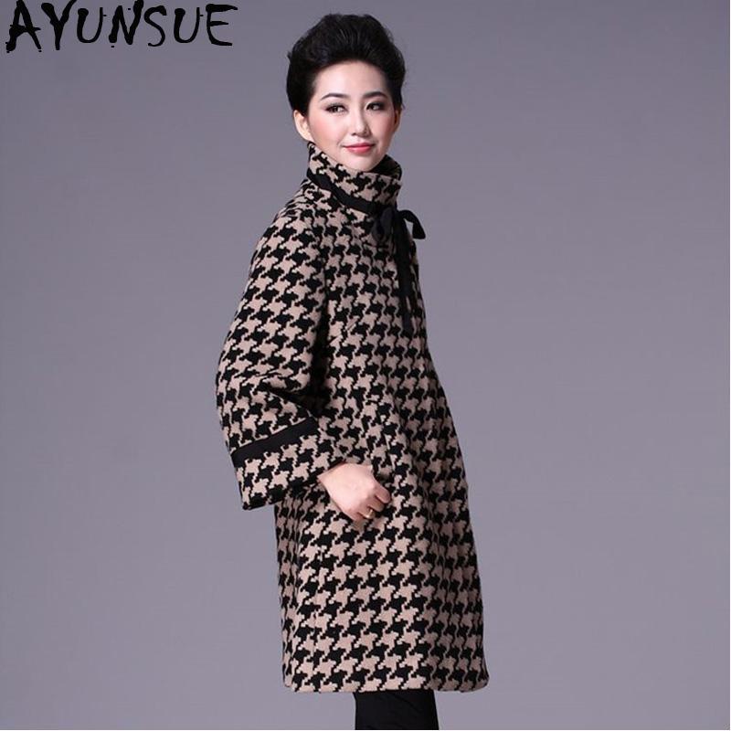 4e44829245e7c AYUNSUE Plaid Long Woolen Coat Female Plus Size 5xl Autumn Winter Woman  Coats 2018 Clothes Windbreaker Casacas Para Mujer KJ339 Wool   Blends Cheap  Wool ...