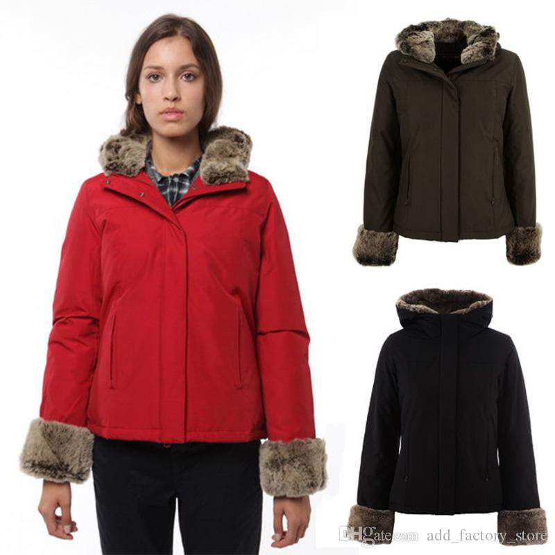 fd9b5e75501ab 2019 2019 Winter Women Woolrich New Boulder Parka High Fur Collar Red Jacket  Fur Cuff Fashion Coat Warm Winter Coats Jackets DHL From Add factory store