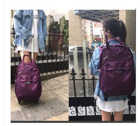 Brand Women Wheeled Luggage Bag Cabin Travel Backpack On Wheels Rolling  Luggage Case Trolley Suitcase Wheeled Bags For Women Gym Bags For Women  Messenger ... e61ade5eeb