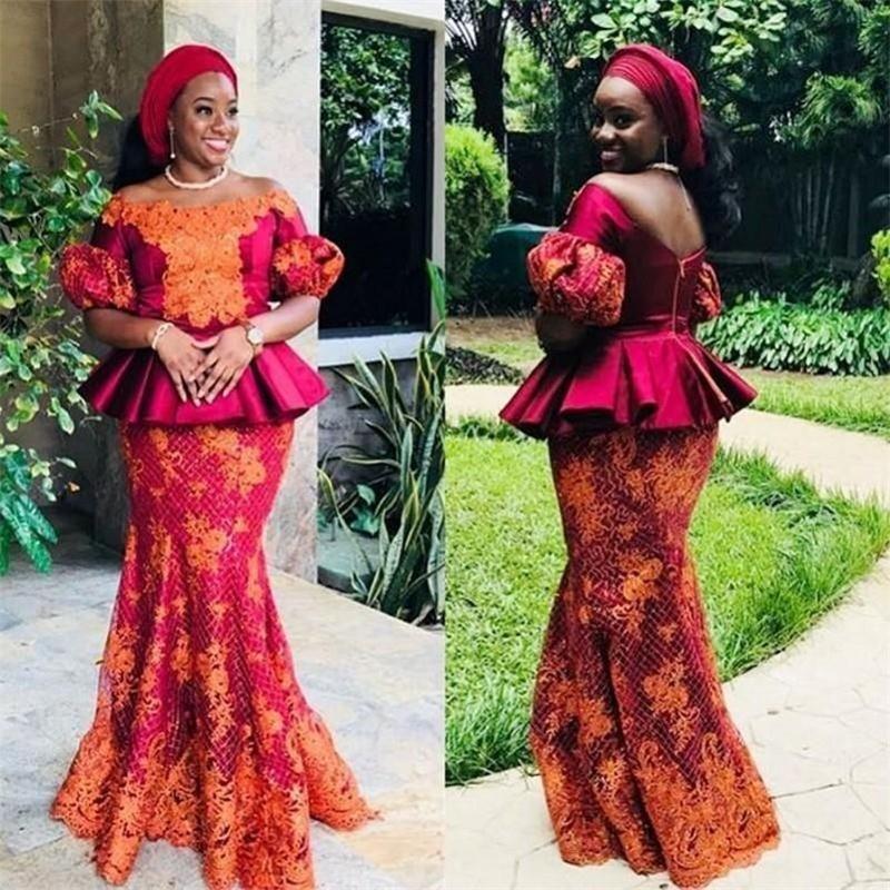 bf20de77b2436 Aso Ebi Plus Size Evening Dresses Off The Shoulder Peplum Half Sleeves  Mermaid Prom Dress Lace Zipper Back African Women Party Gowns Buy Dress  Designer ...