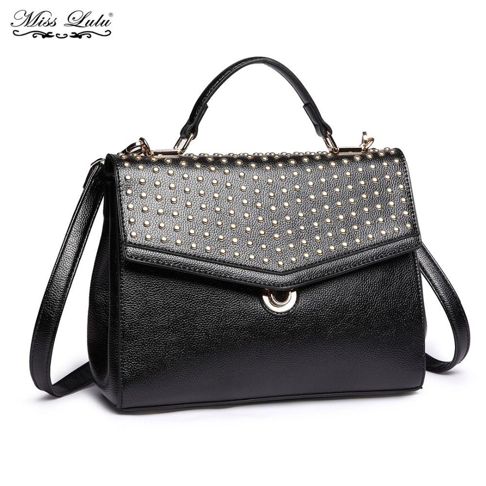 5704a5568ed0 Miss Lulu Women Designer PU Leather Stud Handbag Ladies Fashion Top Handle  Tote Girls Cross Body Shoulder Messenger Bags YD1819 Leather Satchel Ladies  Bags ...
