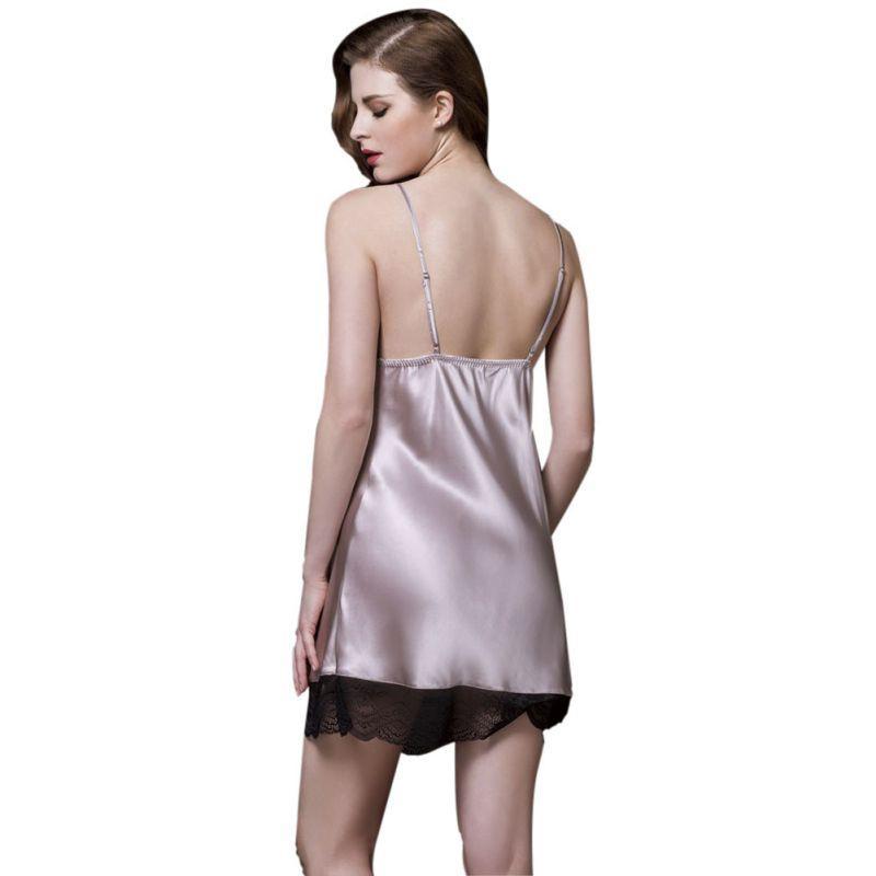 New Sexy Ladies Rayon Silk Sleepwear Summer Lace V-neck Women Pijamas Mujer Sexy Strap Nightgown Hot