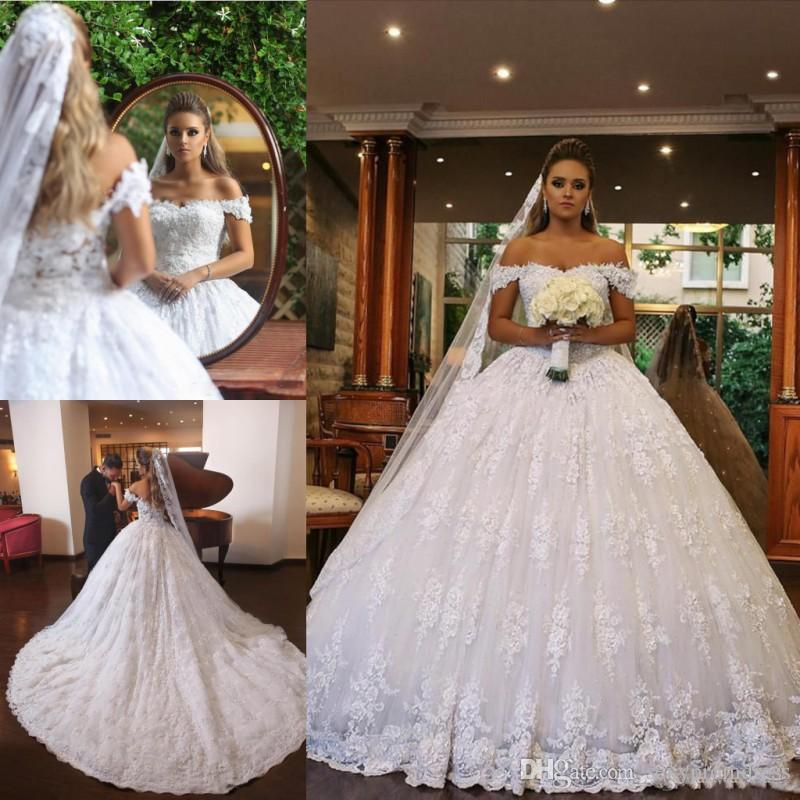 Lace Off Shoulder Ball Gown Wedding Dresses 2018 2019