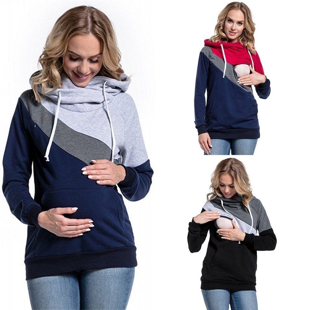 1190a5379 Compre Tallas Grandes Embarazo Enfermería Mangas Largas Ropa De Maternidad  Con Capucha Lactancia Tops Tops Patchwork Camiseta Para Mujeres Embarazadas  ...