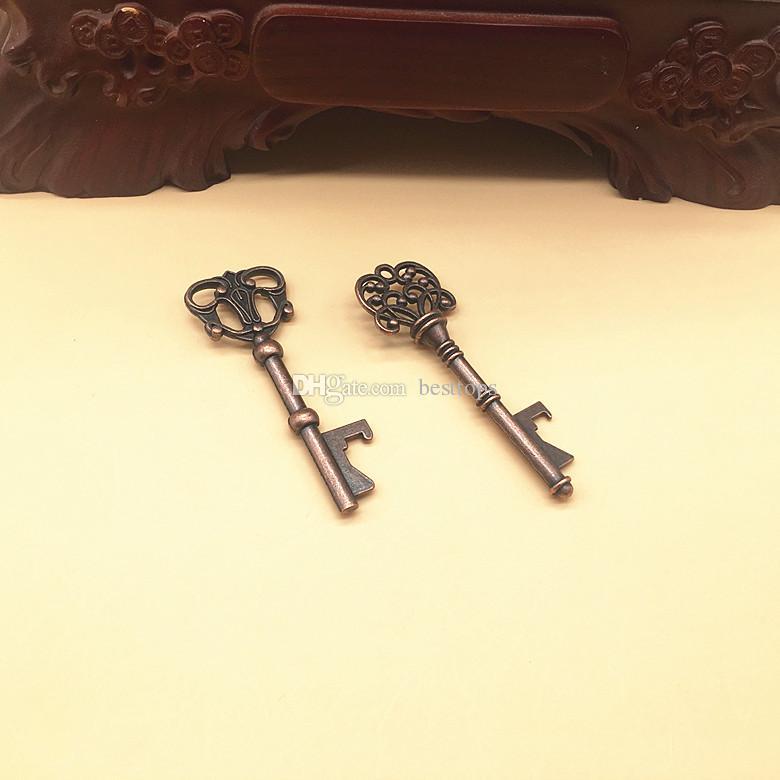 Mixed 9 Styles Antique Bronze Metal Skeleton Key Shaped Bottle Opener Rustic Wedding Decor Party Favor
