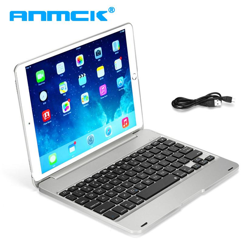 For iPad 9 7 2017 2018 Pro 9 7 iPad Air 1 2 Detachable Wireless Bluetooth  Smart Keyboard with Leather Case Cover