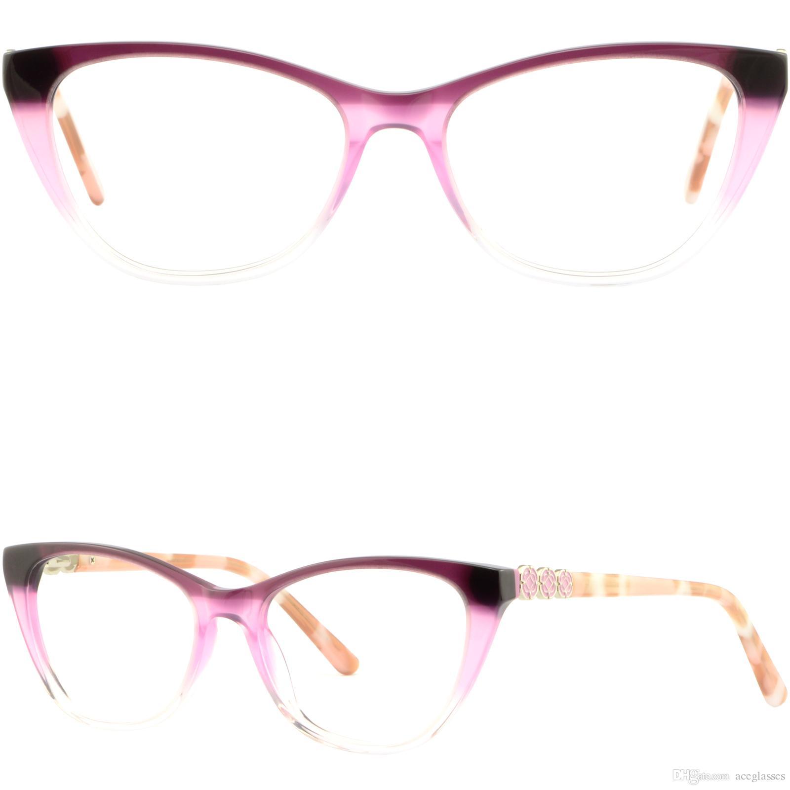 Light Cateye Women Acetate Frame Plastic Prescription Glasses Pink ...