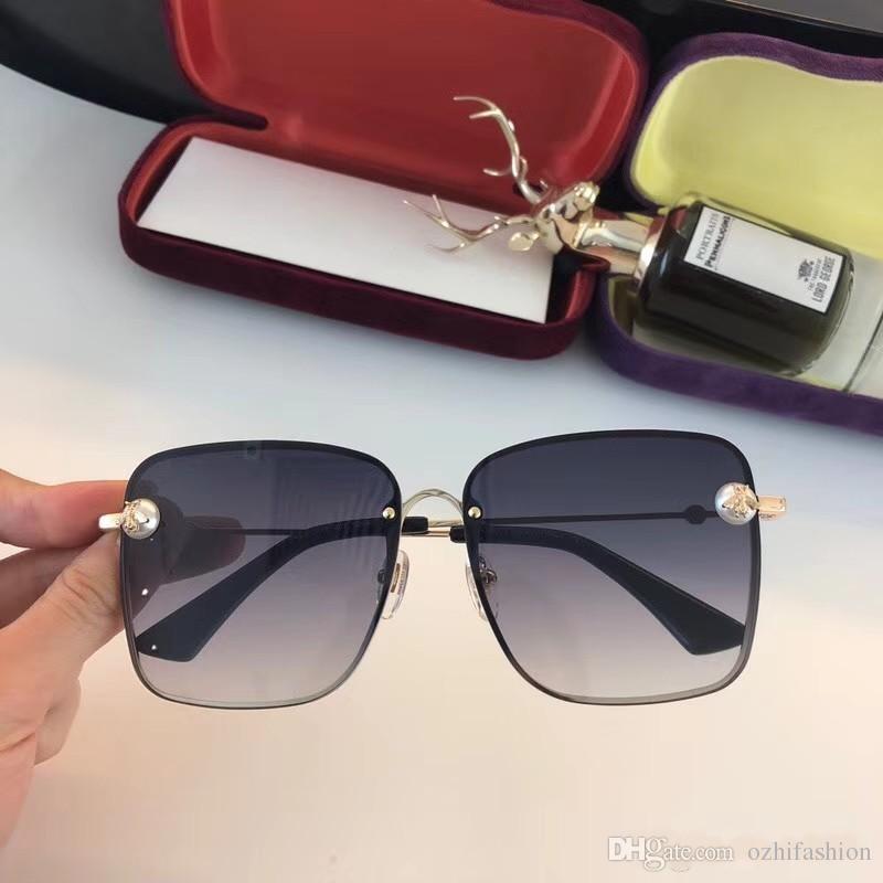 1f0691005d0ef Compre 2018 Gucci New Sunglasses Mulher Metal Frame Sunglasses Gradiente  Com A Abelha Óculos De Sol Oculos Óculos De Sol Para Senhoras Pérola 0129  De ...