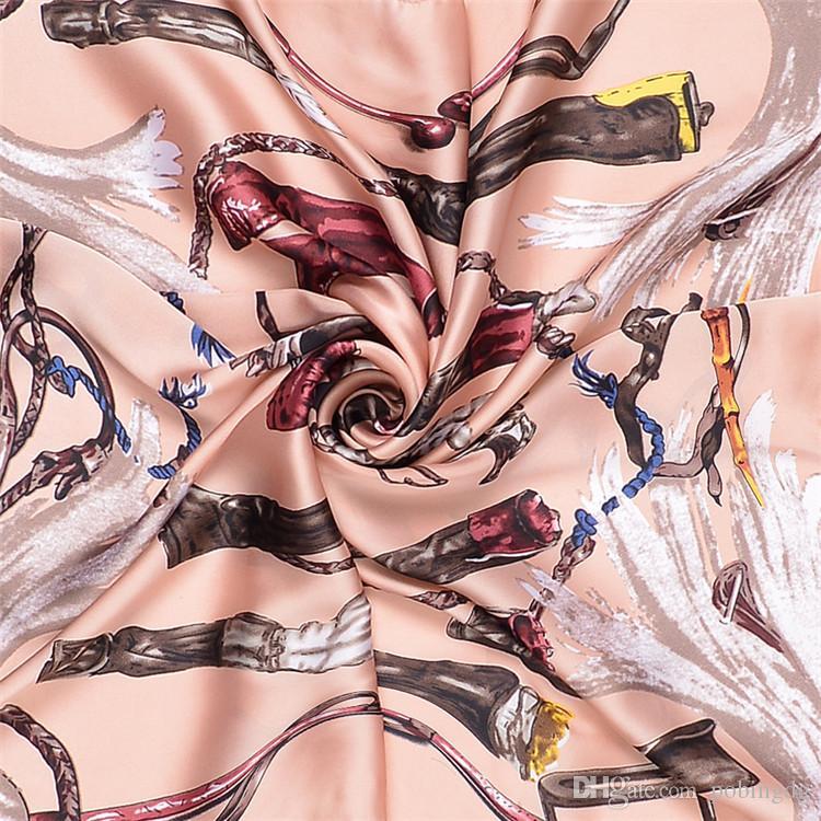 New Twill Silk Scarf Women Chivalry Boots Printing Spain Headband Scarf Lady Small Square Scarves Female Fashion Kerchief Bandana 70cm*70cm