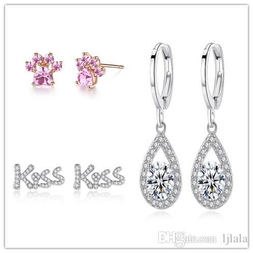 beb8032774e Pink Cat Claw Earrings Simple Diamond Heart Ear KISS Diamond Stud Earrings  Beautiful Fashion Microset Diamond Drops Buckle
