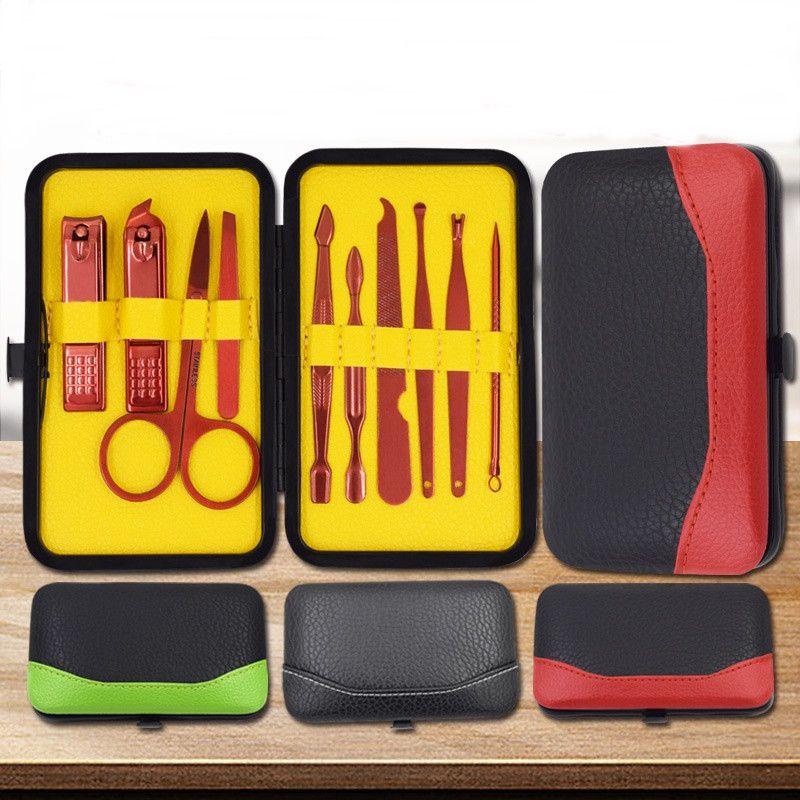 10 шт. Из нержавеющей стали ногтей маникюрный набор инструментов портативный Nail Art наборы ногтей машинки для стрижки бровей ножницы пинцет нож уха забрать путешествия комплект
