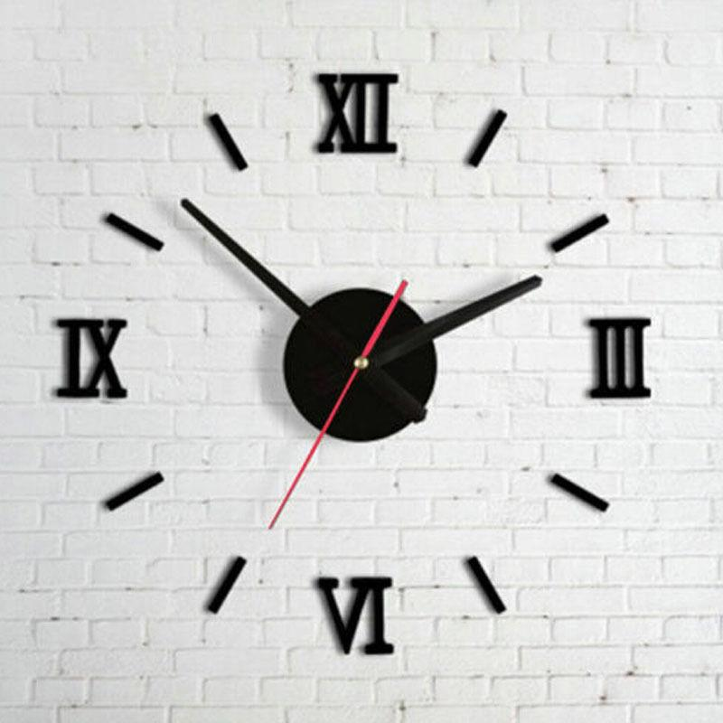 new style diy analog 3d black surface large number wall clock