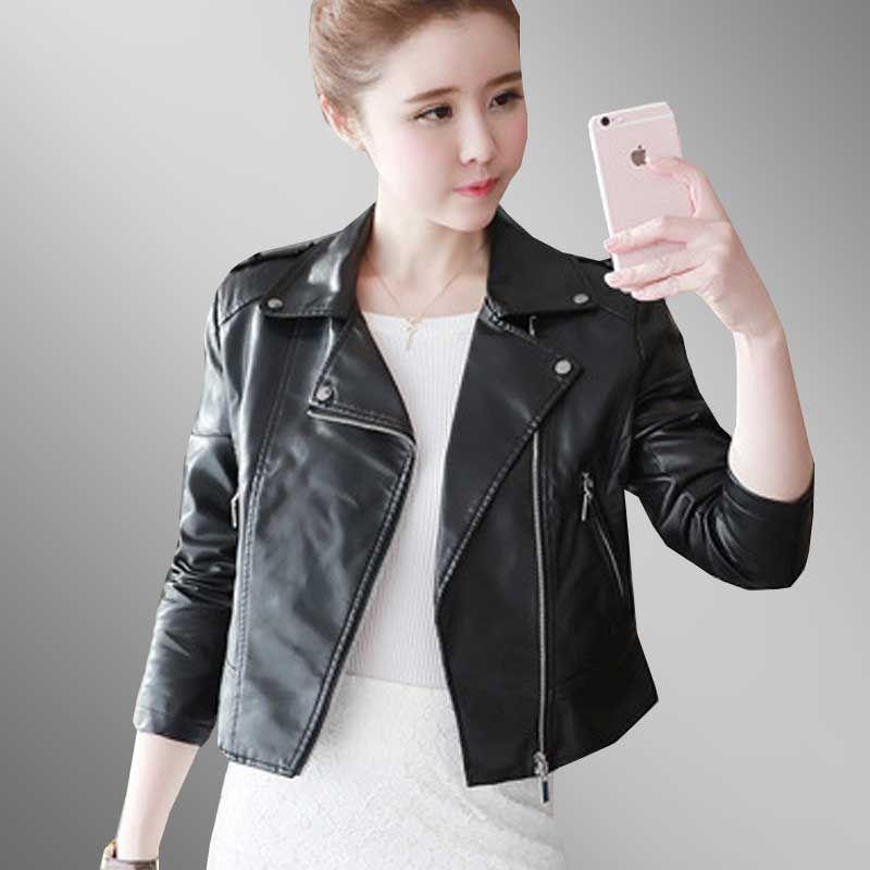 25ee3b900ca 2019 Fashion Slim Plus Size Autumn Leather Jacket Women 2018 New Locomotive  Coat Pink Short PU Leather Jacket Parka Chaqueta Mujer 78 From Maluokui