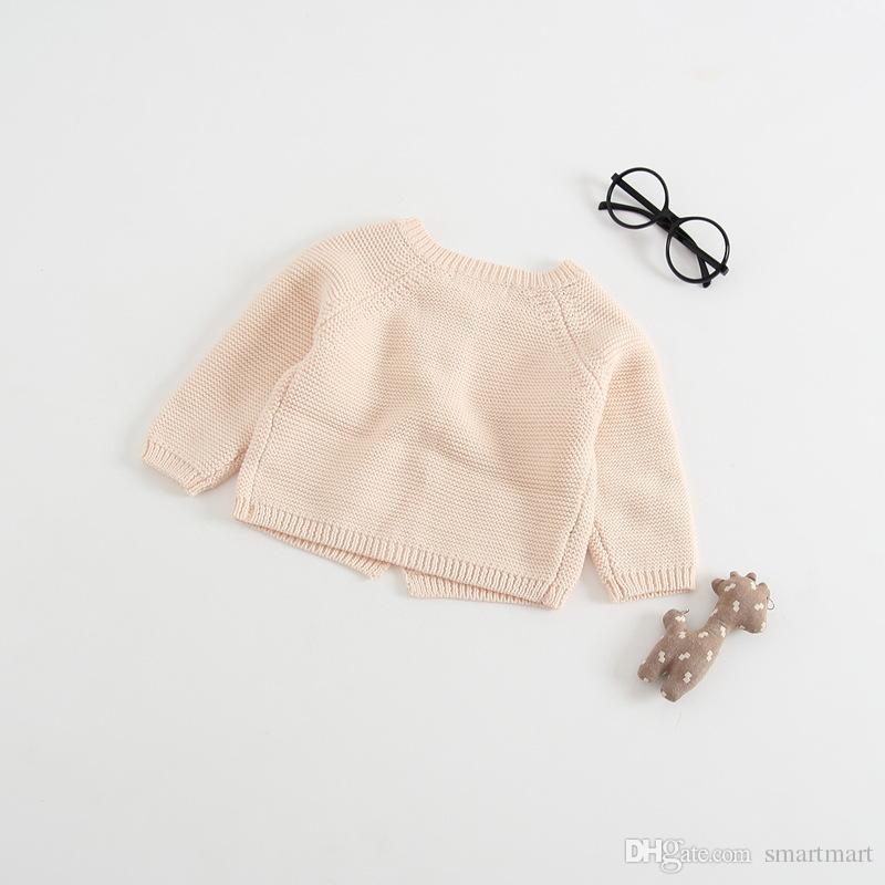 Everweekend Bebés de Malha Doce Cor Camisola Cardigans Rosa Bege Cor Bonito Crianças Moda Primavera Outono Casacos