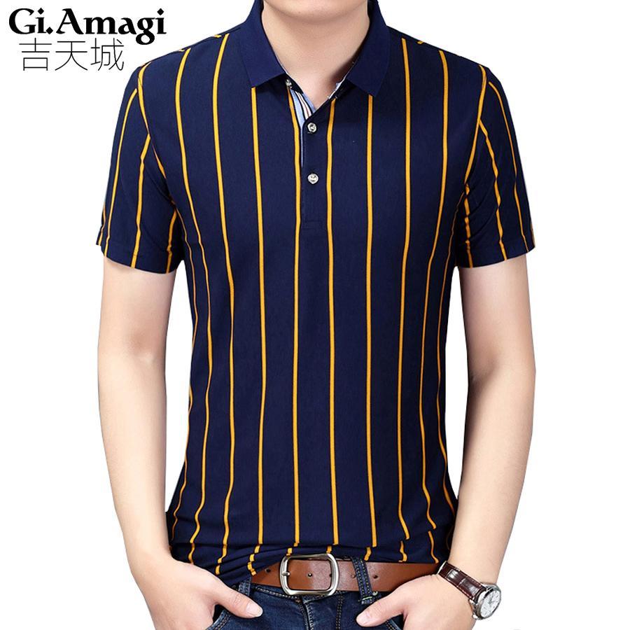 2019 Business Classic Stripes Men Polo Shirt Slim Fit Short Sleeve