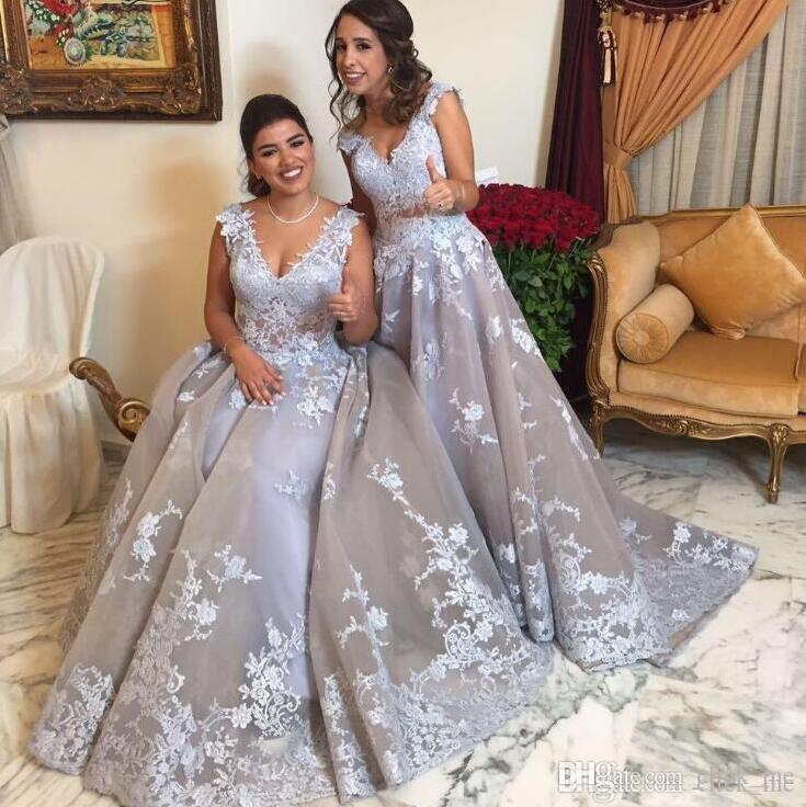 African Lace Prom Dresses Long V Neck A Line South Africa Formal Maid Of Honor Bridesmaid Dress Custom Made Princess Bridal Guest Gown Plus Size Prom