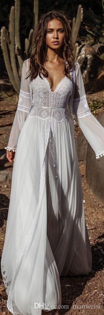 Asaf Dadush 2019 Robes De Mariée Avec Manches Longues Wrap Jacket Vintage Crochet Dentelle Fée Flowy Mousseline De Soie Plage Boho Robes De Mariée