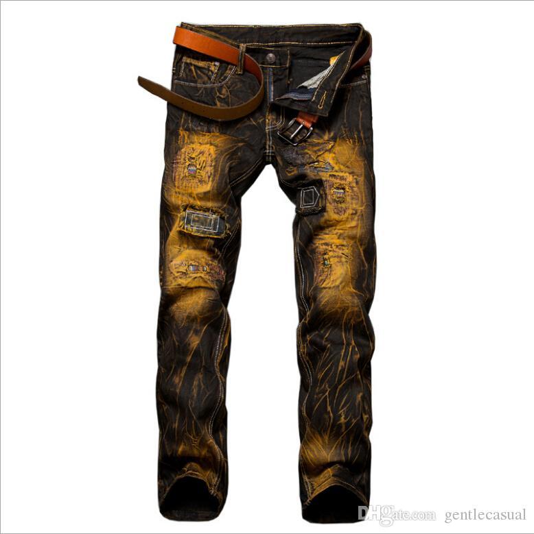 Men's Clothing Fashion Vintage Mens Ripped Jeans Pants Slim Fit Distressed Hip Hop Denim Pants Men Blue/white Stretch Jeans Pants With Hole 136