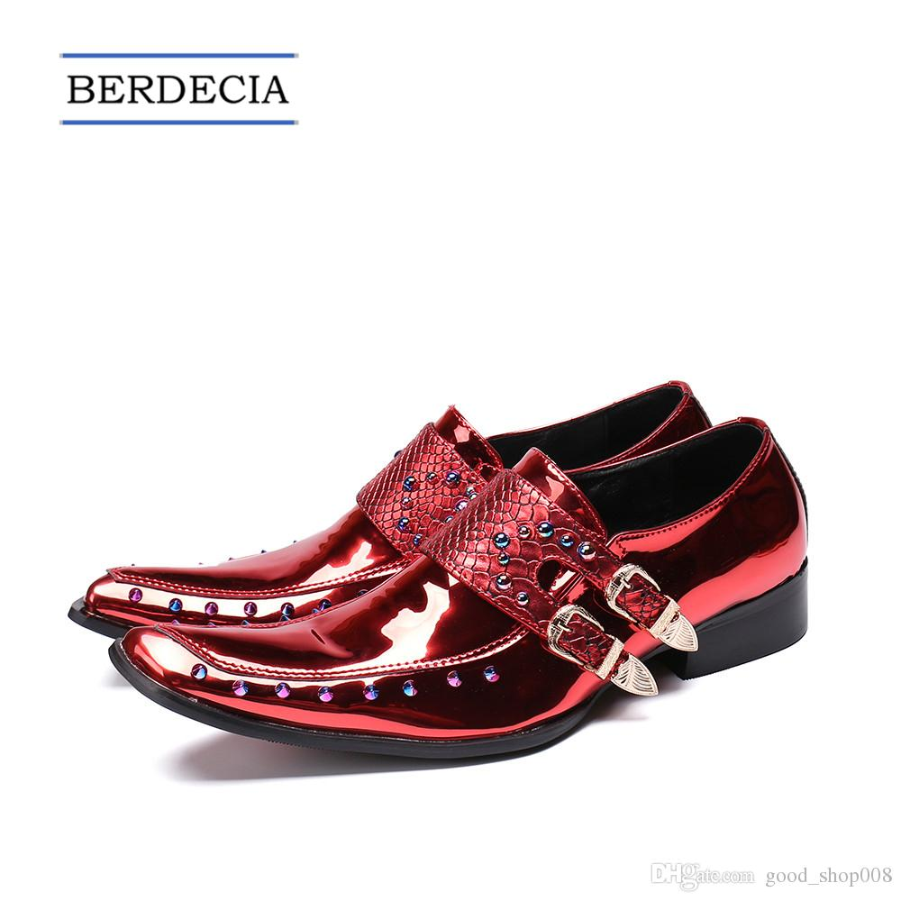 b2f075305c 2018 Designer Luxury Patent Leather Men Oxford Shoes Square Toe Multicolor  Rivets Men Dress Shoes Wedding Formal Brogue Shoes 38-47