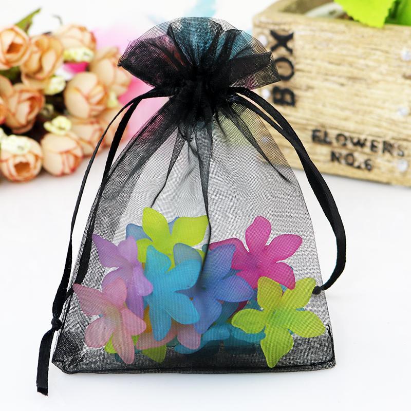 Organza Bag 13x18cm Black Custom Tea Jewelry Packaging Bags Organza Wedding Gift Bags Packages Saquinho De Organza