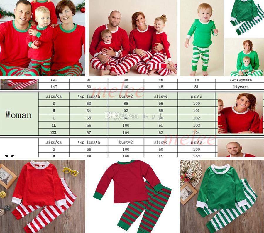 9dc54a6cbc 2019 Xmas INS Kids Adult Red Green White Family Matching Christmas Deer Striped  Pajamas Sleepwear Nightwear Pyjamas Bedgown Sleepcoat Nighty PJS From  Melee