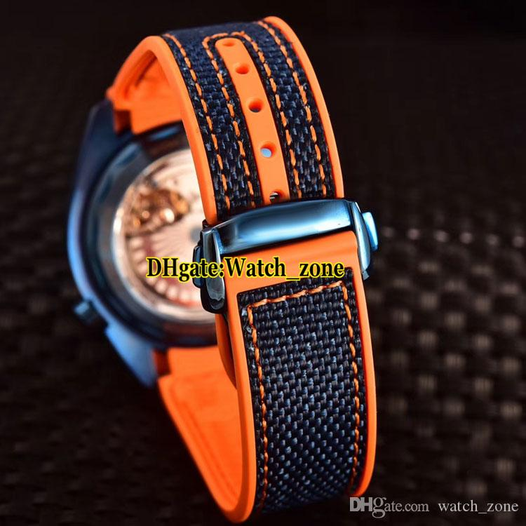 New 215.63.44.21.03.001 Planet Ocean 600m Blue Dial Japan Miyota Automatic Mens Watch Rose Gold Case Ceramic Bezel Leather Strap Watches