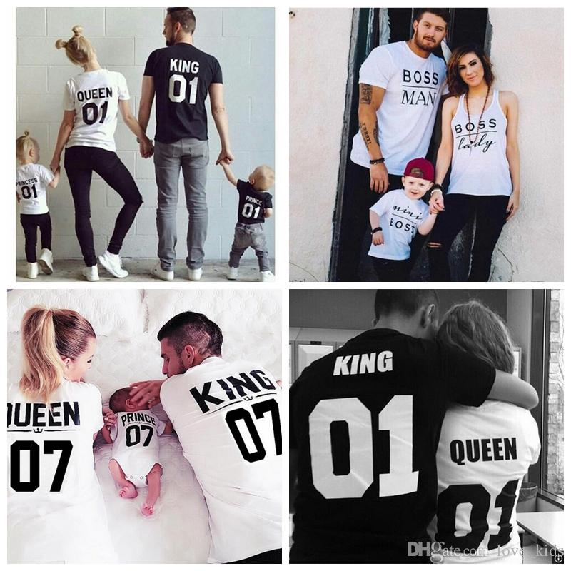 3ab83feb4ba7 New Fashion Family Kids Daughter Son Mom Daddy Clothes Matching Prince  Princess King Queen Shirt Letter Print Casual Short Sleeve T Shirt Matching  ...