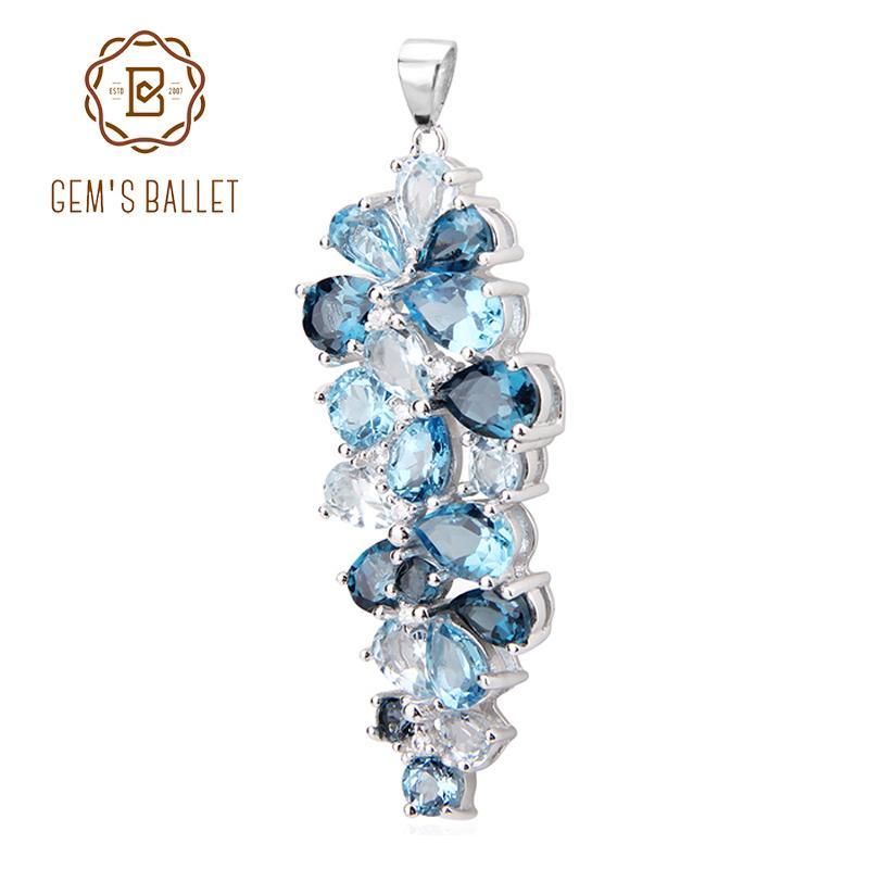 382cd58c5760 GEM S BALLET Londres Topacio Azul Suizo Topacio Azul Cielo Topacio Azul  Mezclar Piedras Preciosas Colgantes Para Las Mujeres Regalo de Lujo  Accesorios de ...