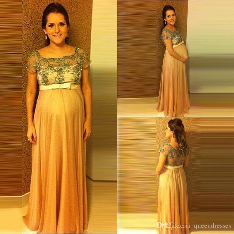 Gold Long Evening Dresses Plus Size With Lace Sleeve Jewel Chiffon Evening Gowns Pregnant Floor Length Special Occasion Prom Party Dresses
