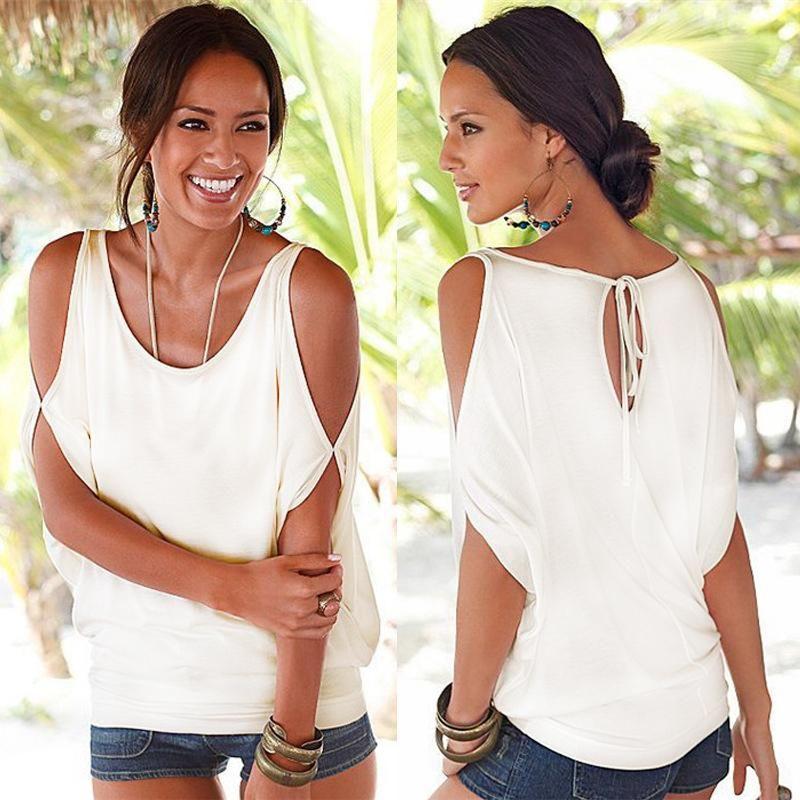 a0b224bec8fb4 ZSIIBO Slit Sleeve Cold Shoulder Tops Shirt Women Casual Summer T Shirt Girl  2017 Tee T Shirt Loose Top T Shirt Plus Size BTS T Shirt 24 Hours Buy Cool  ...
